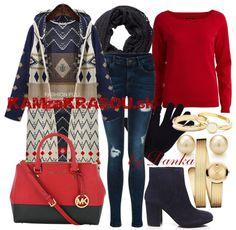 Modro-červená kombinácia #kamzakrasou #sexi #love #jeans #clothes #coat #shoes #fashion #style #outfit #heels #bags #treasure #blouses #dress