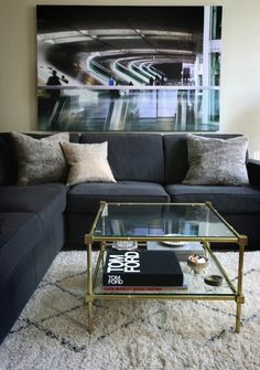 Erika Brechtel: Chic living room design with vintage beni ourain rug - Moroccan Maryam, Jonathan Adler ...
