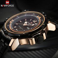 427eb37a0d2 Homens relógios de esporte NAVIFORCE marca de luxo de homens relógio de  quartzo pulseira de aço