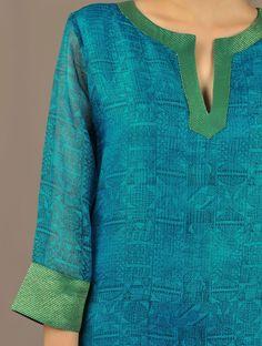 Blue Kota Silk A-Line Tunic