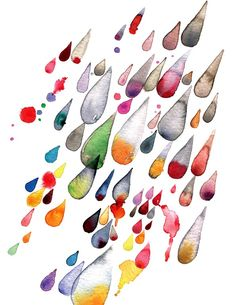 "Saatchi Online Artist: Meta Wraber; Watercolor, Painting ""Rain""."