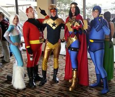 The only version of Ralph (Elongated Man) I could find. Ice, Ralph, Booster Gold, Big Barda, and Ted Cord Blue Beetle. All former JLA members, so they fit.