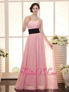Baby Pink Empire Sweetheart Floor-length Sash Custom Made Prom Gowns- $132.69  http://www.flickr.com/     empire prom dress | chiffon fabric prom dress | where to get prom dress |