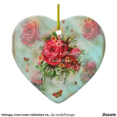 vintage, rose roses valentine valentinesday love Double-Sided heart ceramic christmas ornament