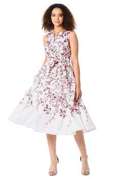 Cherry blossom print dupioni midi dress