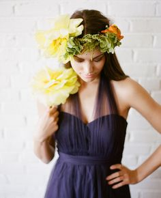 Bridesmaid in Jenny Yoo with a gorgeous flower crown