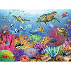 Ravensburger Tropical Waters 500 Piece Jigsaw Puzzle for Adults – Every Piece is Unique, Softclick Technology Means Pieces Fit Together Perfectly - Toys Ravensburger Puzzle, Sea Life Art, Sea Art, Underwater Painting, Turtle Painting, Ocean Scenes, Sea Creatures, Under The Sea, 500 Piece Puzzles