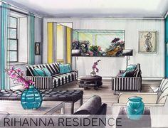 Interior Design hand rendering by TamaraBinteriors.