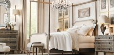 Canopy and tell me you don't just adore that chandelier too!      Vienne French Four-Poster Bed | Restoration Hardware