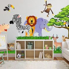 Wall decal for the nursery, baby. Sticker Stick On Animals, Safari - in He . Wall decal for t Baby Room Themes, Baby Boy Rooms, Nursery Themes, Baby Elephant Nursery, Safari Nursery, Girl Nursery, Art Mural, Wall Murals, Wall Decal