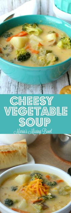 Vegetable Soup - This cheesy vegetable soup is amazingly delicious , simple to make and SO hearty. It's creamy, full of chunky vegetables and always a hit! Incredible Recipes, Great Recipes, Soup Recipes, Favorite Recipes, Healthy Recipes, Broccoli Recipes, Delicious Recipes, Dinner Recipes, Recipes