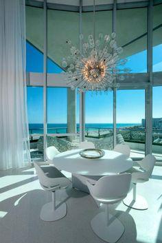 Miami modern...love that chandelier