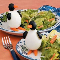 Egg Penguins Recipe from Taste of Home No one believes how easily these whimsical bites come together.—Darline Michaelis, New Auburn, Wisconsin  #penguin #party