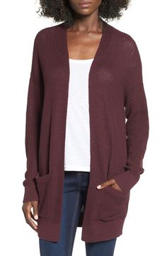 Plush openwork texture and a draping, drop-shoulder fit bring a laid-back vibe to this long, comfy cardigan that will be a go-to all season long.