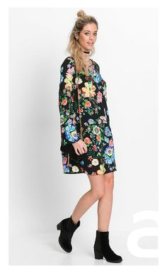 stylizacja casual, ciekawa stylizacja, moda damska, sukienka w kwiaty, sukienka mini High Neck Dress, Casual, Dresses, Mini, Fashion, Short Gowns, Black, Fresh, Summer