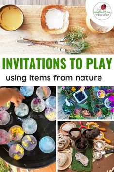 How to set up invitations to play using nature - ideas for educators! - Invitations to play using items from nature – invitations and setups for daycare, kindergarten, p - Forest School Activities, Nature Activities, Spring Activities, Preschool Activities, Outdoor Activities, Work Activities, Play Based Learning, Learning Through Play, Learning Toys