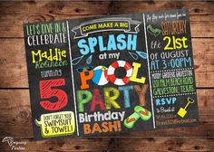 Pool Party Birthday Bash Invitation - Splish Splash Birthday Bash - Digital File on Etsy, $20.00