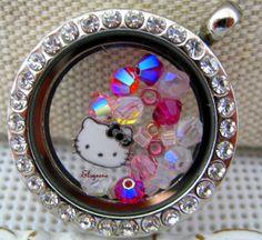 Living LocketMemory Locket  Glass Pendant  Pink Purple Hello Kitty charm by elsyrene, $24.98