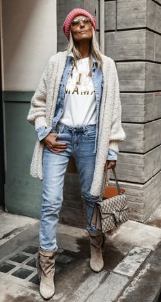 Cute Outfits With Jeans, Jean Outfits, Style Casual, Casual Fall, Mode Outfits, Stylish Outfits, Denim Ideas, Fashion Corner, Cardigan