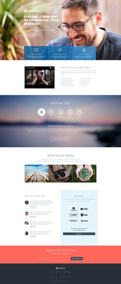Business landing page template with unlimited customization possibility and drag and drop page builder