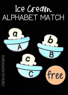 Fun ABC activity for preschool or kindergarten! Match the ice cream scoop to the right alphabet bowl. Perfect for summer... or anytime!
