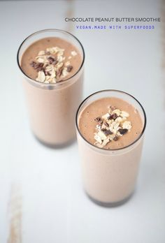 Chocolate Peanut Butter Smoothie. Made with superfoods. Dairy free. Vegan. 285 calories per 8oz serving! | Small Green Kitchen @smallgreenkitch