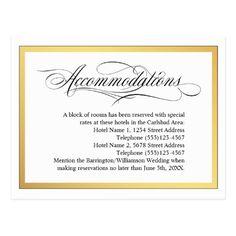 Elegant Script Flourishes Wedding Accommodations Postcard - Sold at Oasis_Landing on Zazzle. #weddings