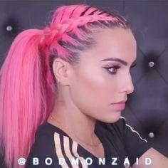 Braids For Thin Hair, Lana Turner, Pastel Pink Hair, Unicorn Hair, Hair Color Dark, Mermaid Hair, Stylish Hair, Rainbow Hair, Ponytail Hairstyles