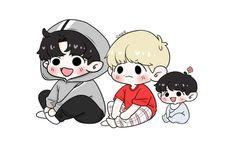 ♡ Sometime Fanarts resemble Real Life ♡ All of the fanarts credit t… Chanbaek Fanart, Baekhyun Fanart, Kpop Fanart, Baekyeol, Chibi Boy, Cute Chibi, Chanyeol, Exo Cartoon, Exo Stickers