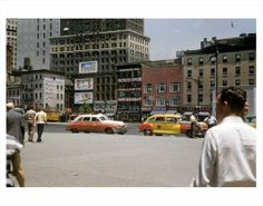 taxis outside of Penn Station 1950s