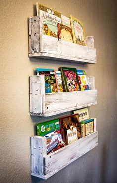 Whitewashed Barn Wood Bookshelves Set of 3 by DrakestoneDesigns, $60.00