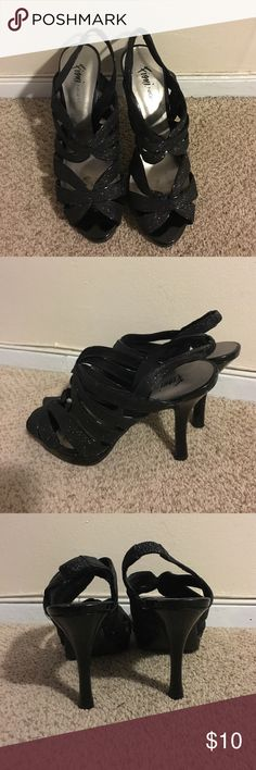 Fioni night sandles Size 9 Payless Fioni night sandals low heel. Comfortable! Worn 2-3 times. Great shape. Glittery black. FIONI Clothing Shoes Heels