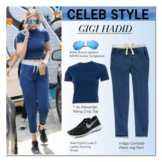 """""""Celeb Style: Gigi Hadid"""" by ellize-back ❤ liked on Polyvore featuring T By Alexander Wang, Bobbi Brown Cosmetics and NIKE"""