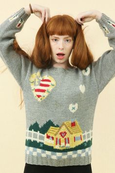 Vintage Heart House Knit Jumper - THE WHITEPEPPER