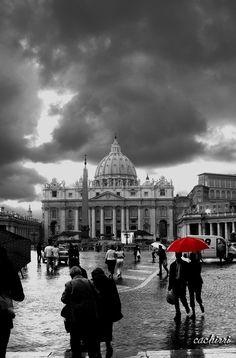Sombrilla paraguas rojo
