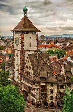 Freiburg im Breisgau in Baden-Württemberg, Germany. The gate tower was built around 1250.
