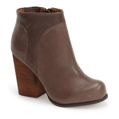 """Jeffrey Campbell 'Hanger' Bootie, 3 1/2"""" heel ($124) ❤ liked on Polyvore featuring shoes, boots, ankle booties, ankle boots, dark taupe, taupe boots, jeffrey campbell boots, chunky booties, high heel booties and short boots"""