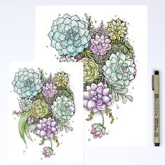 Can't get enough gorgeous succulents! ----- Watercolor + Ink Print on 60lb Canvas Paper Signed + Numbered by the Artist Frame not included Available in 5x7 or 8x10