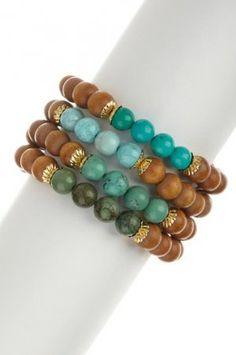 No. 1297 - Wood & Turquoise Bracelet Set