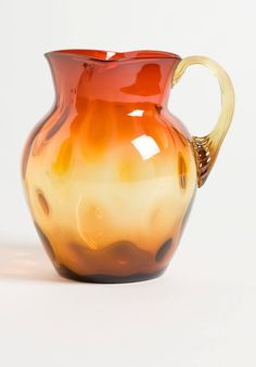 Rose Amber Milk Pitcher - Reeded Handle - 5.75 inch HOA