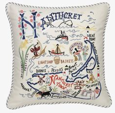 Catstudio Nantucket Pillow - Geography Collection Home Décor * Visit the image link more details. (This is an affiliate link and I receive a commission for the sales) Nantucket Cottage, Nantucket Baskets, Nantucket Style, Nantucket Island, Coastal Style, Coastal Living, Nantucket Decor, Coastal Decor, Embroidery