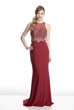 6df09037a0c Tinaholy Couture T17109 Red Silver Diamonte Formal Gown Dress