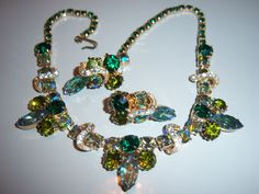 VINTAGE UNS WEISS GREEN BLUE AB HALF MOON RHINESTONE NECKLACE EARRING SET