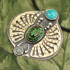 """Winged Scarab Pendant - """"Transcendence 2"""" Vintage molded glass Scarab, Turquoise and Chinese Amazonite - Sterling with Brass Wings - OOAK"""