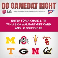 Enter to Win a $300 Walmart Gift Card and an LG Soundbar! Watch your fav NCAA® Football team on your LG TV on Game Day! #ad