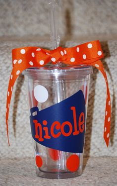 Cheerleader tumbler Personalized 16 ounce by BinThereDesigns. $12.50, via Etsy.