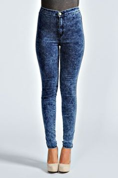 boohoo dark high waisted acid wash jeans