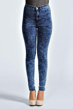 boohoo dark high waisted acid wash jeans