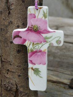 vintage china cross pendant - pink poppy cross - eco jewellery - upcycled china - broken china jewellery