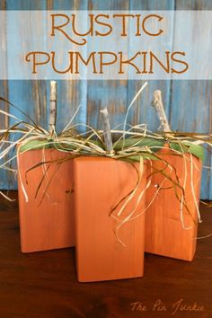Think Tank Thursday Party Rustic Wooden Pumpkins